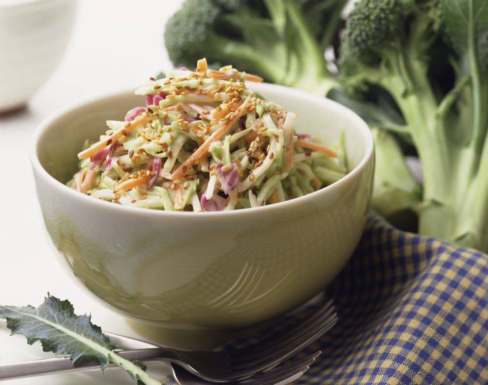 Close up of coleslaw in bowl