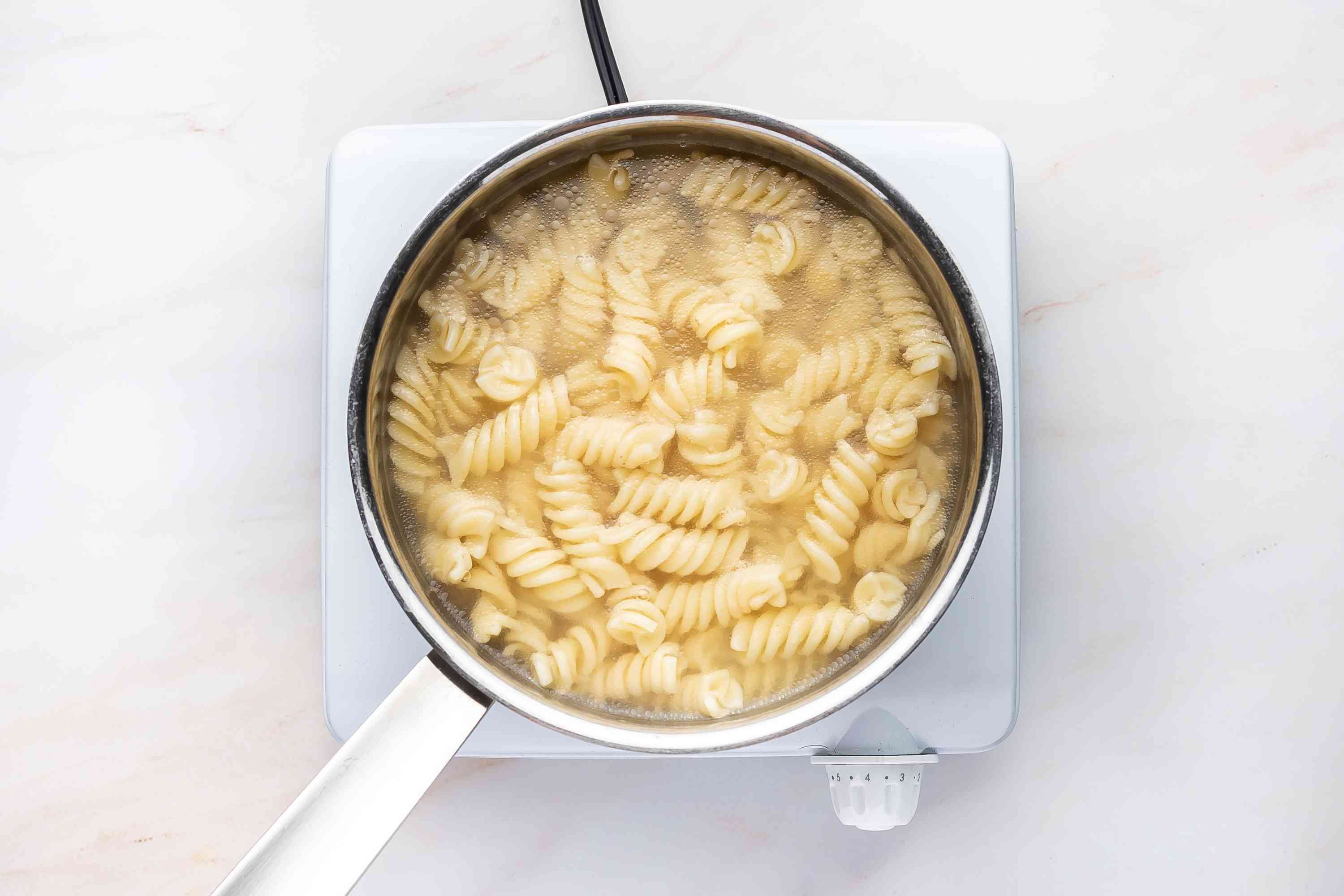 pasta in a pot with water