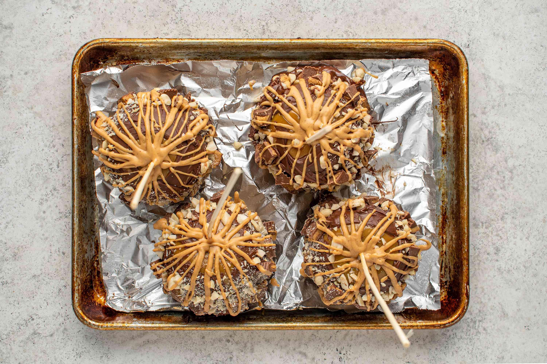 Peanut Butter Caramel Apples on a baking sheet