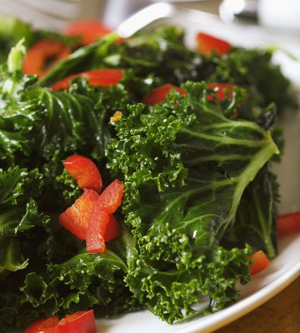 Kale with onions and peppers