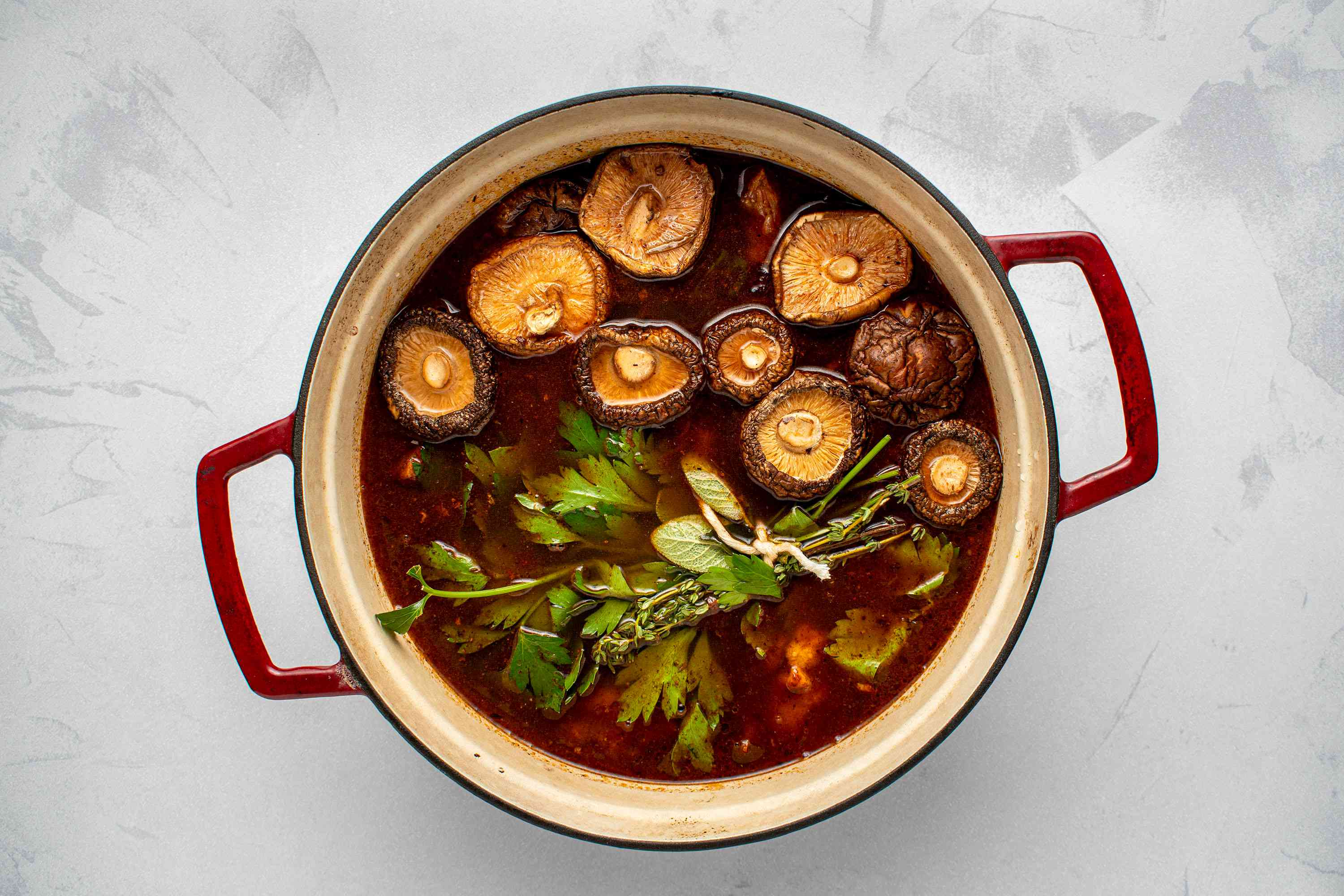 broth ingredients in a pot