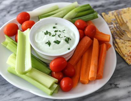 Benedictine spread with vegetable dippers.