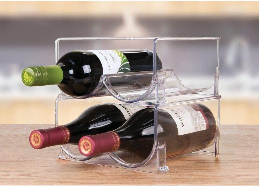 mDesign Plastic Free-Standing Wine Rack Storage Organizer