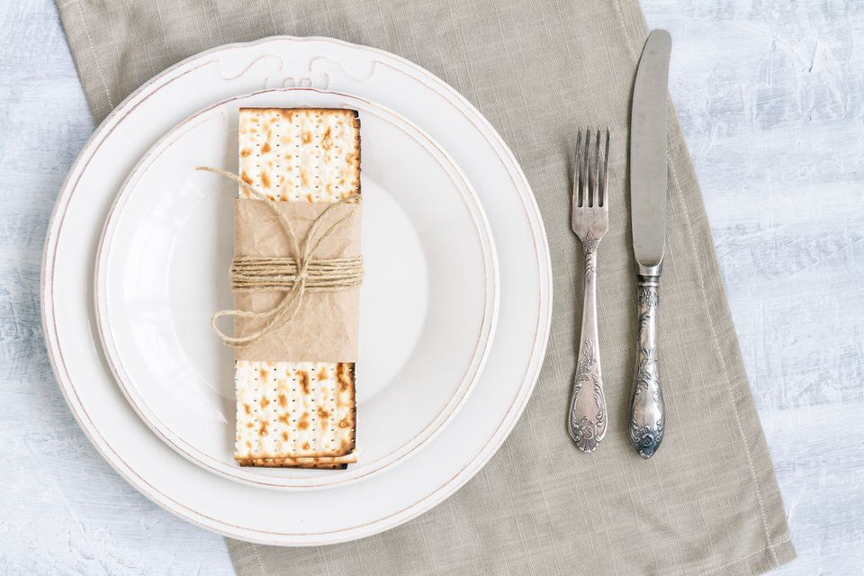 matzo cracker on plate with knife and fork