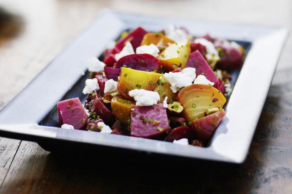 Roasted Beet Salad with Crumbled Feta