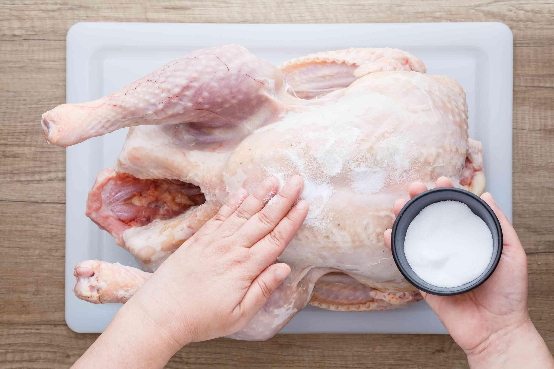 Rub turkey with salt