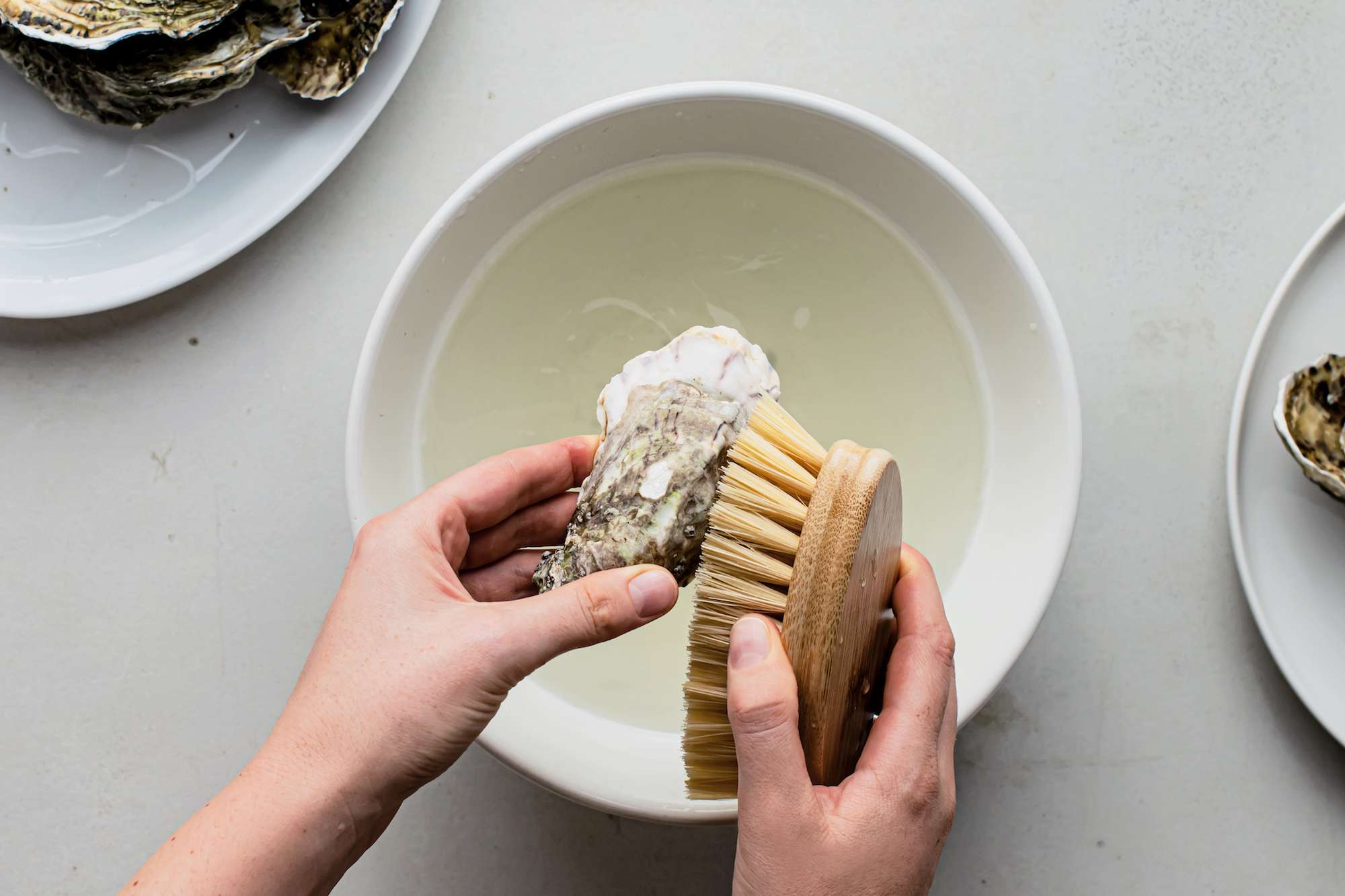 Scrubbing an oyster shell with a brush