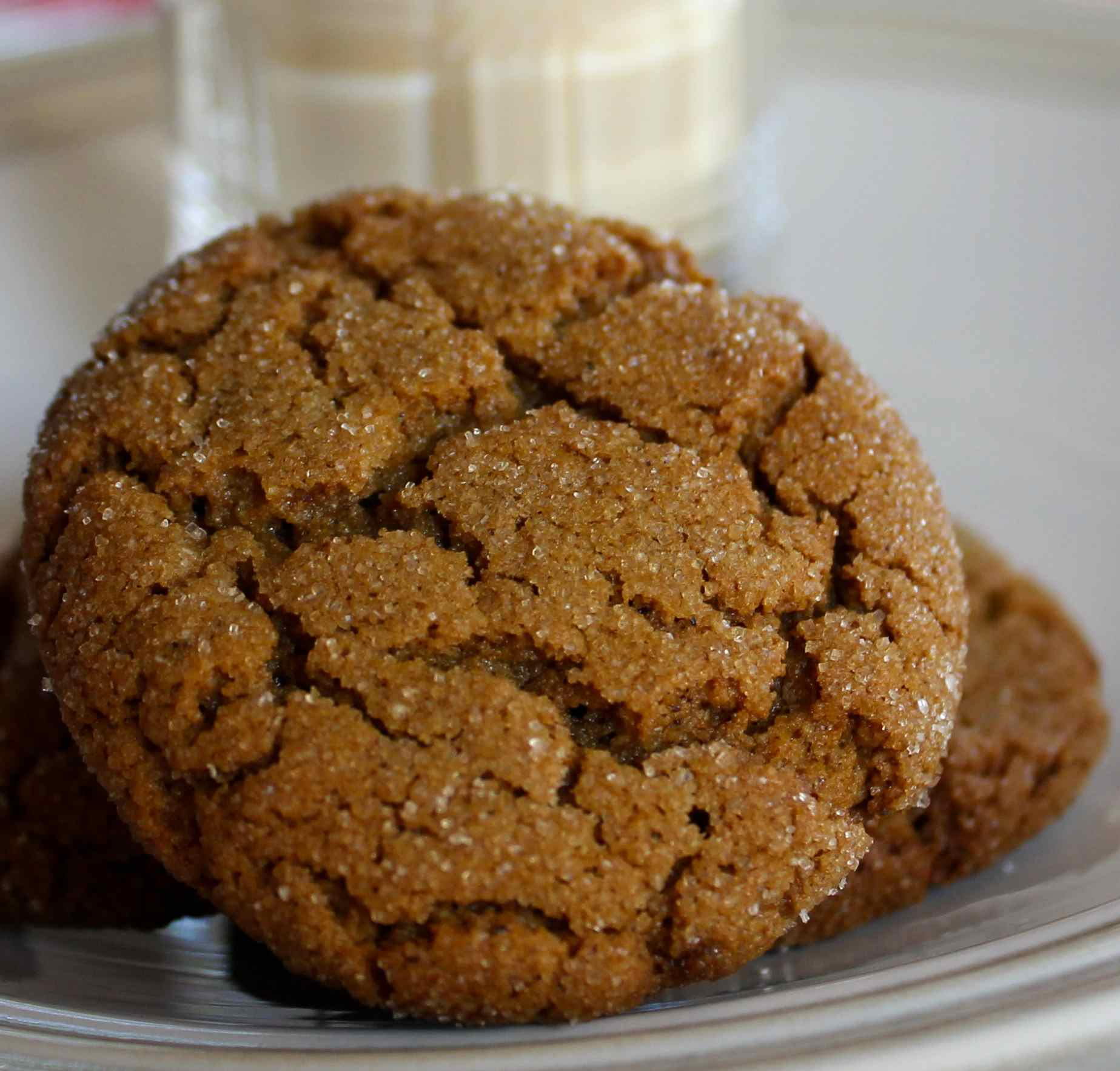 Gluten-free gingersnap cookies on a plate