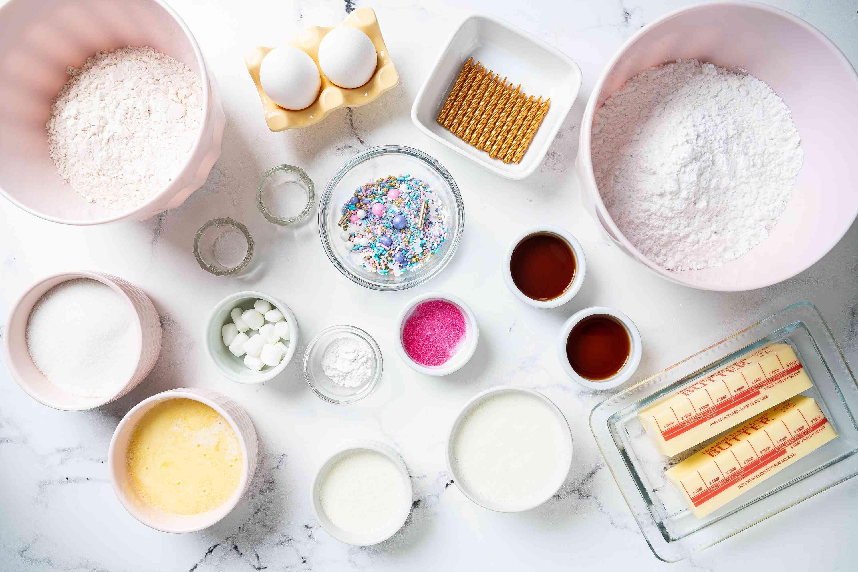 Unicorn Cupcake ingredients