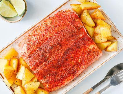 Roasted Salmon Fillets with potatoes