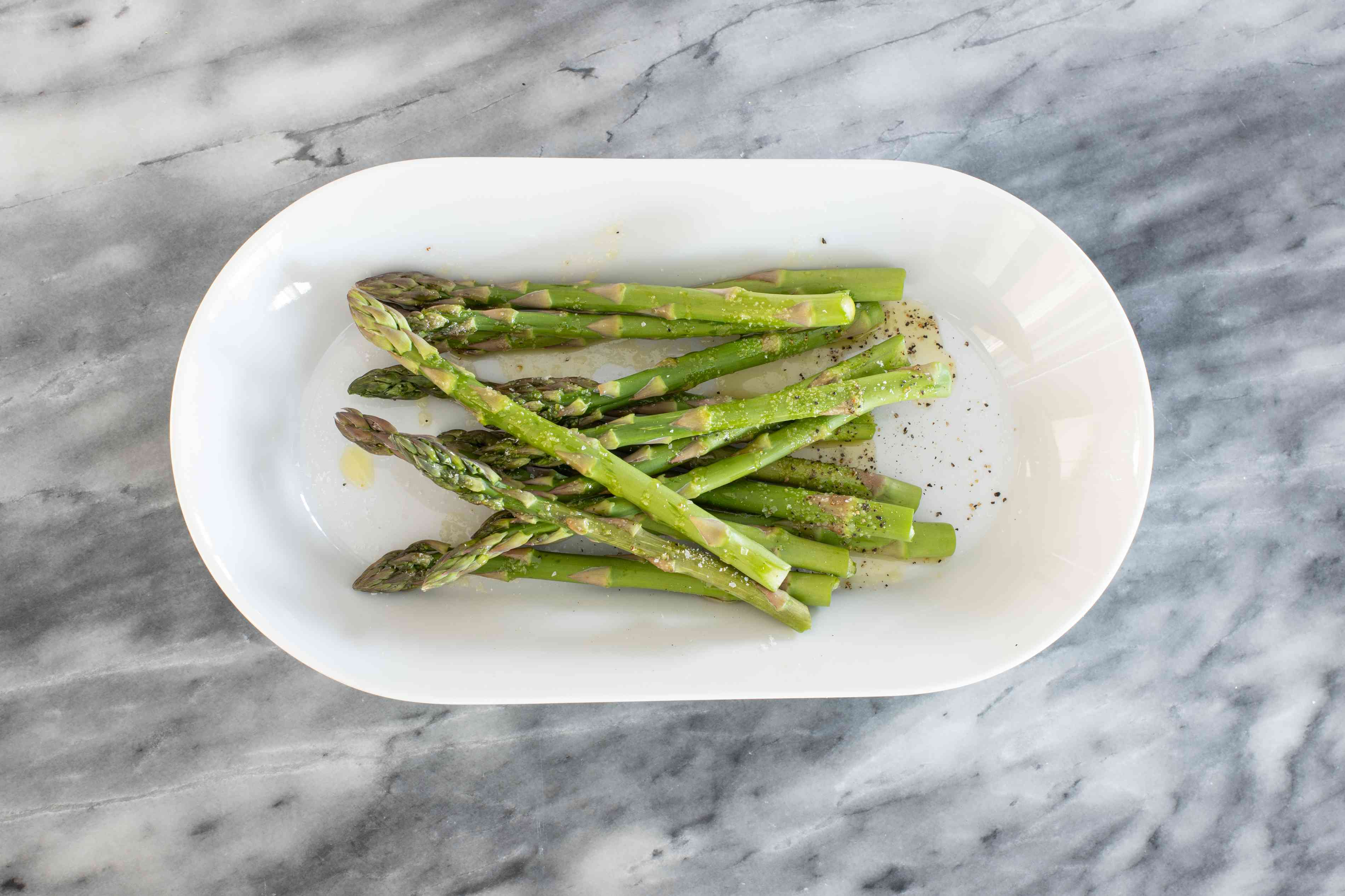toss the asparagus with oil, salt, and pepper