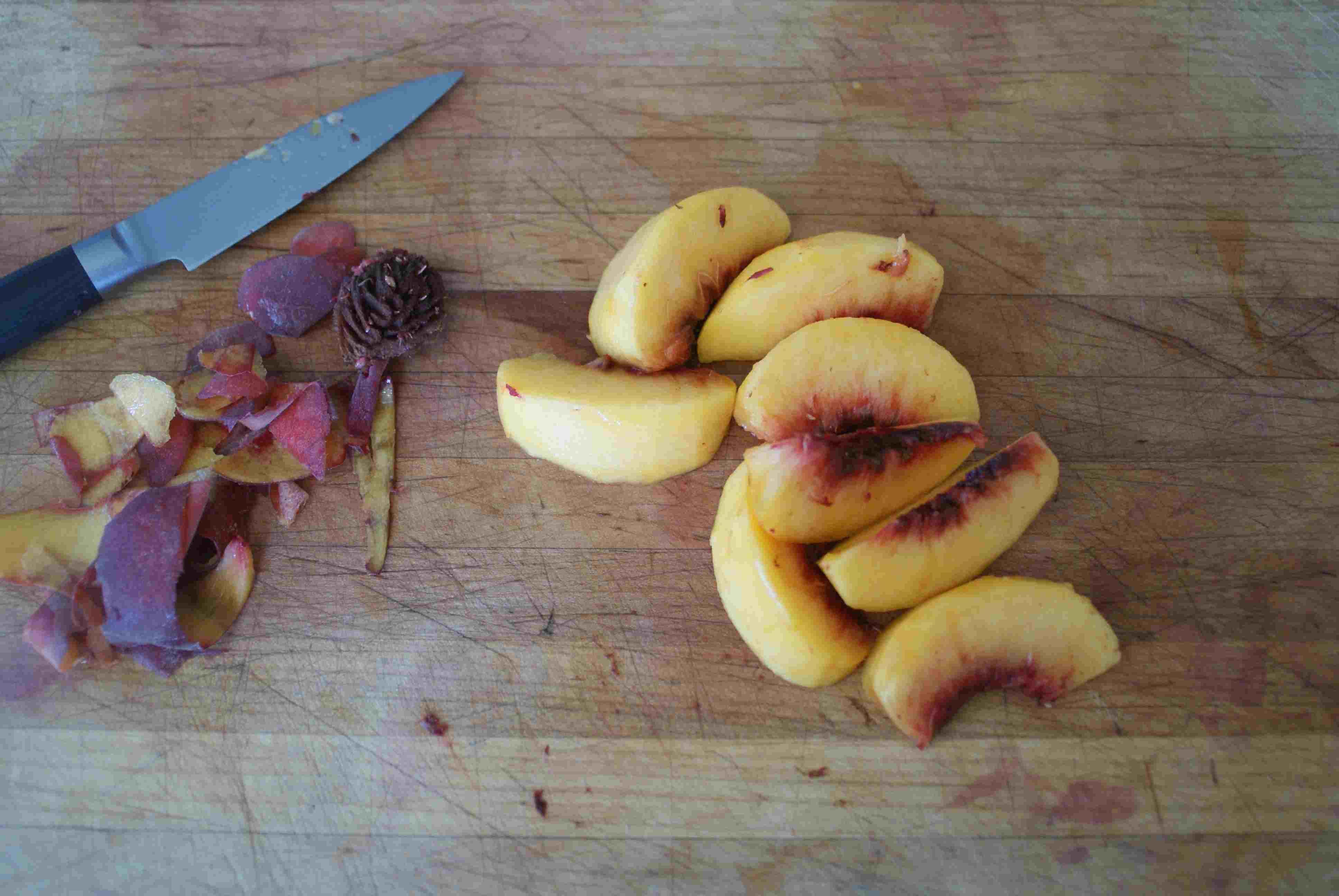 Sliced and Peeled Peach Wedges