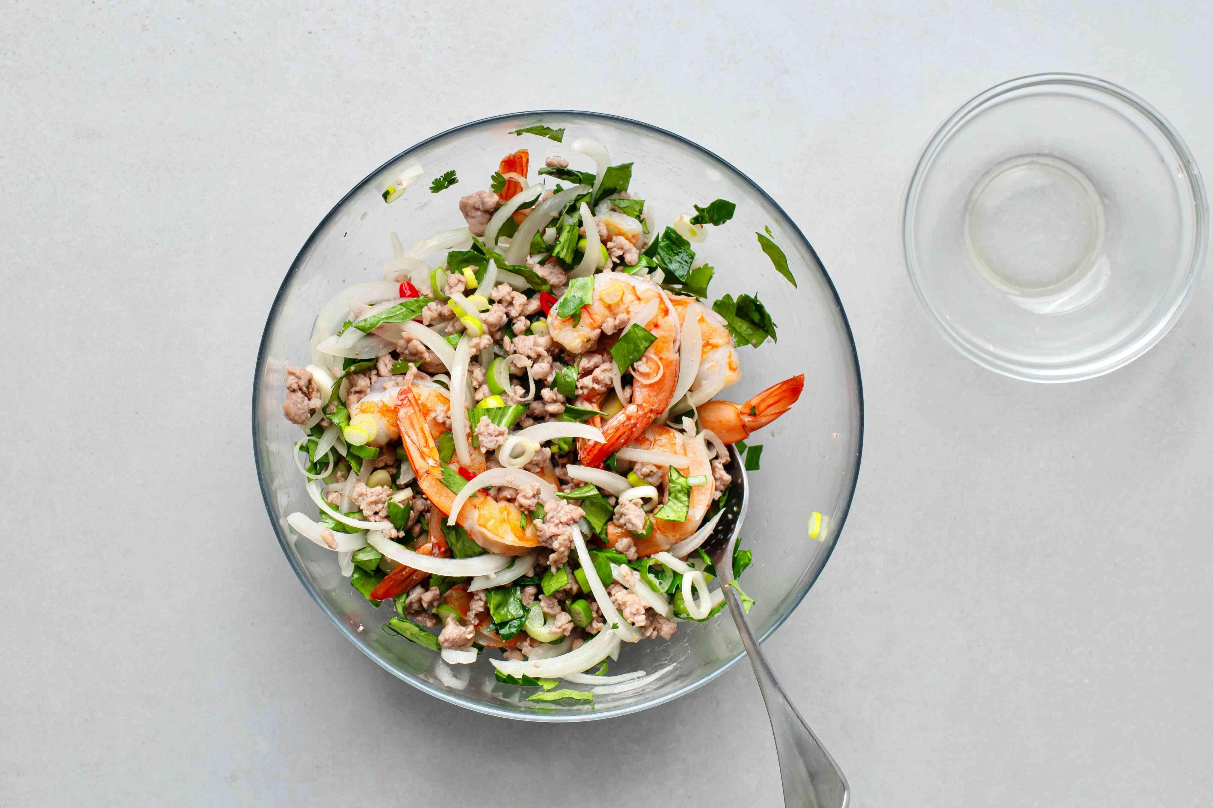Thai Shrimp Salad (Shrimp Yum Goong) in a bowl