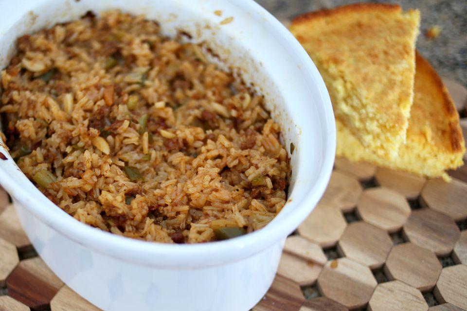 Crock Pot Pollo, salchichas y camarones Jambalaya