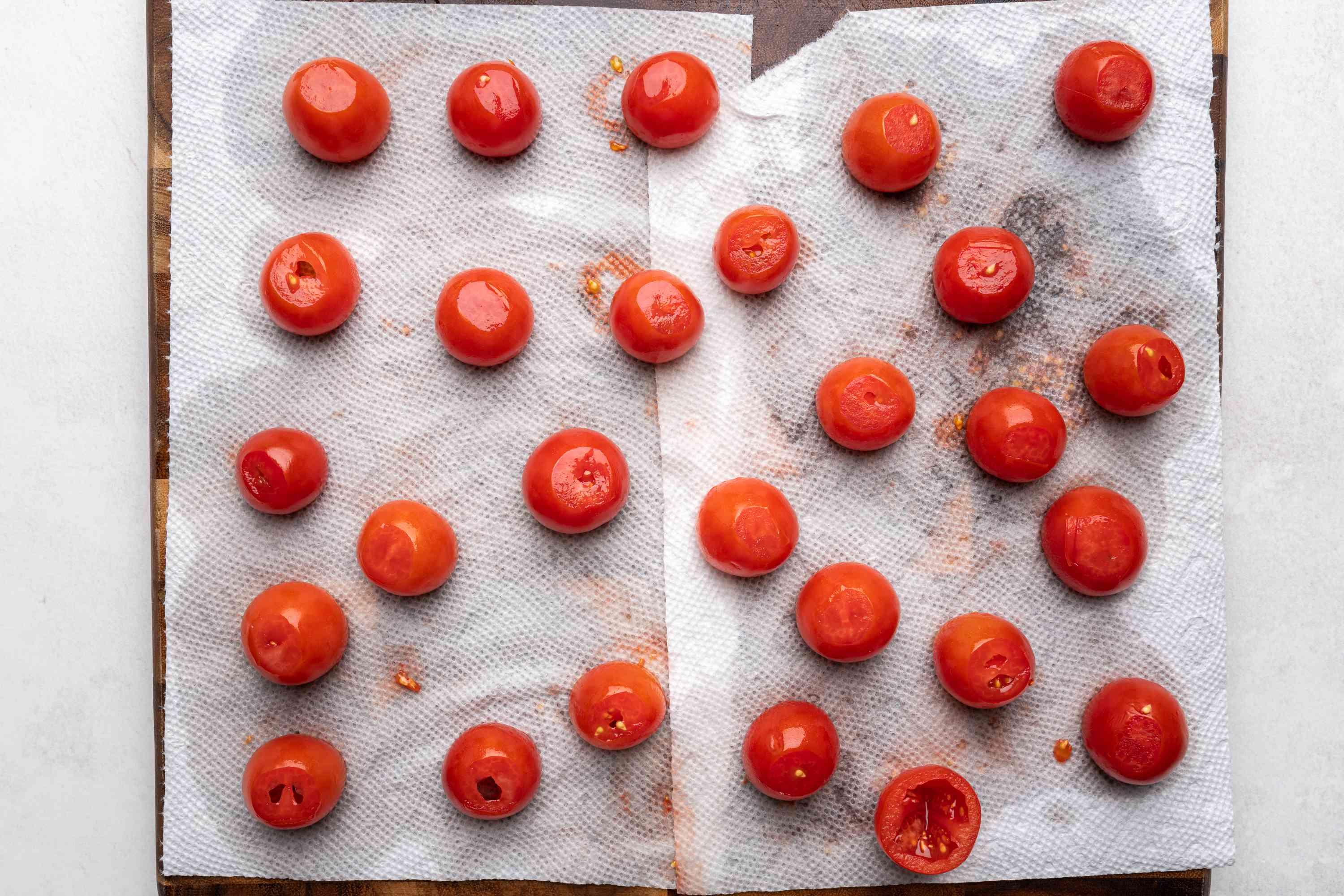 cherry tomatoes on paper towels
