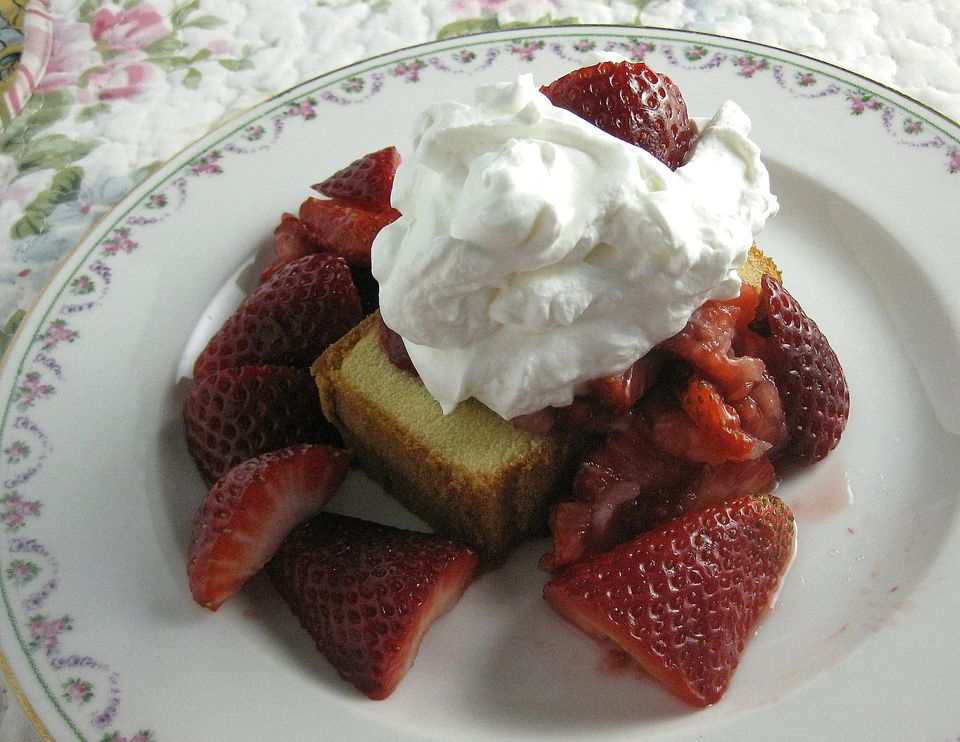Strawberry shortcake made with pound cake and whipped cream
