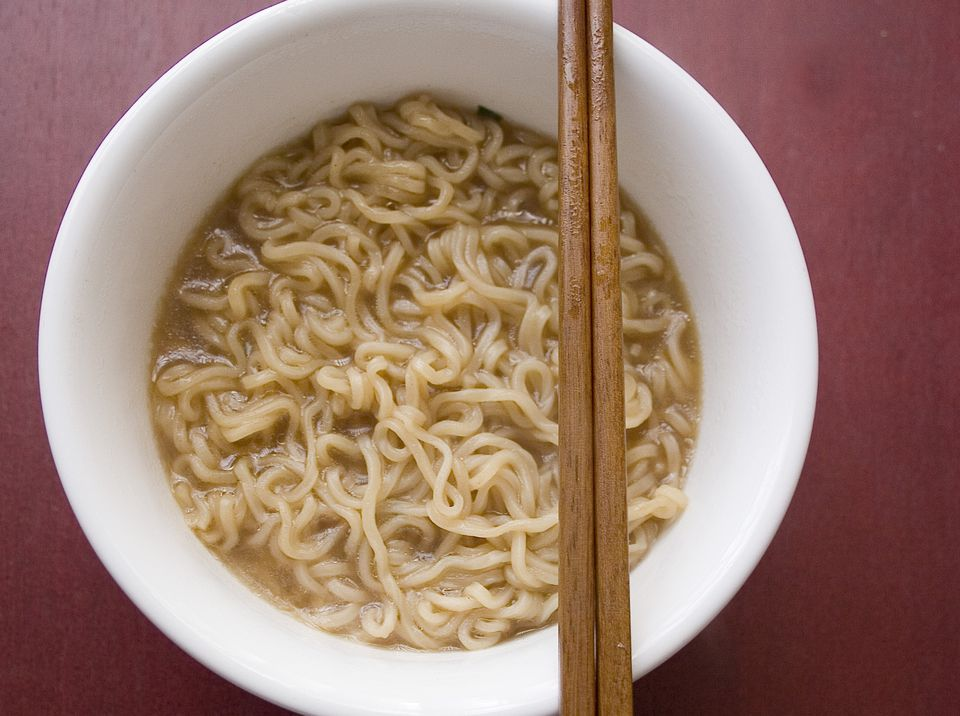 Ramen noodles in bowl with chopsticks