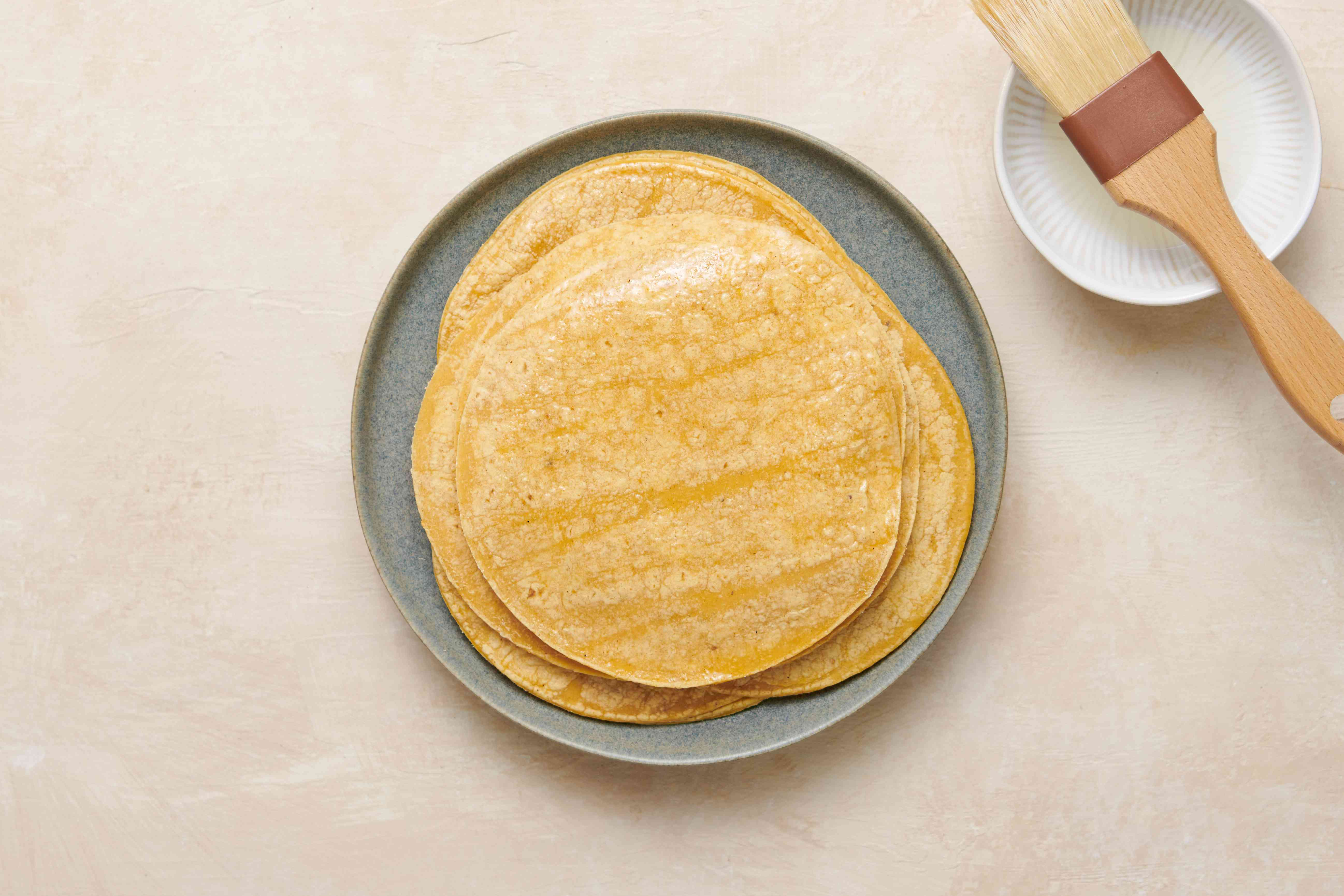 Tortillas brushed with oil