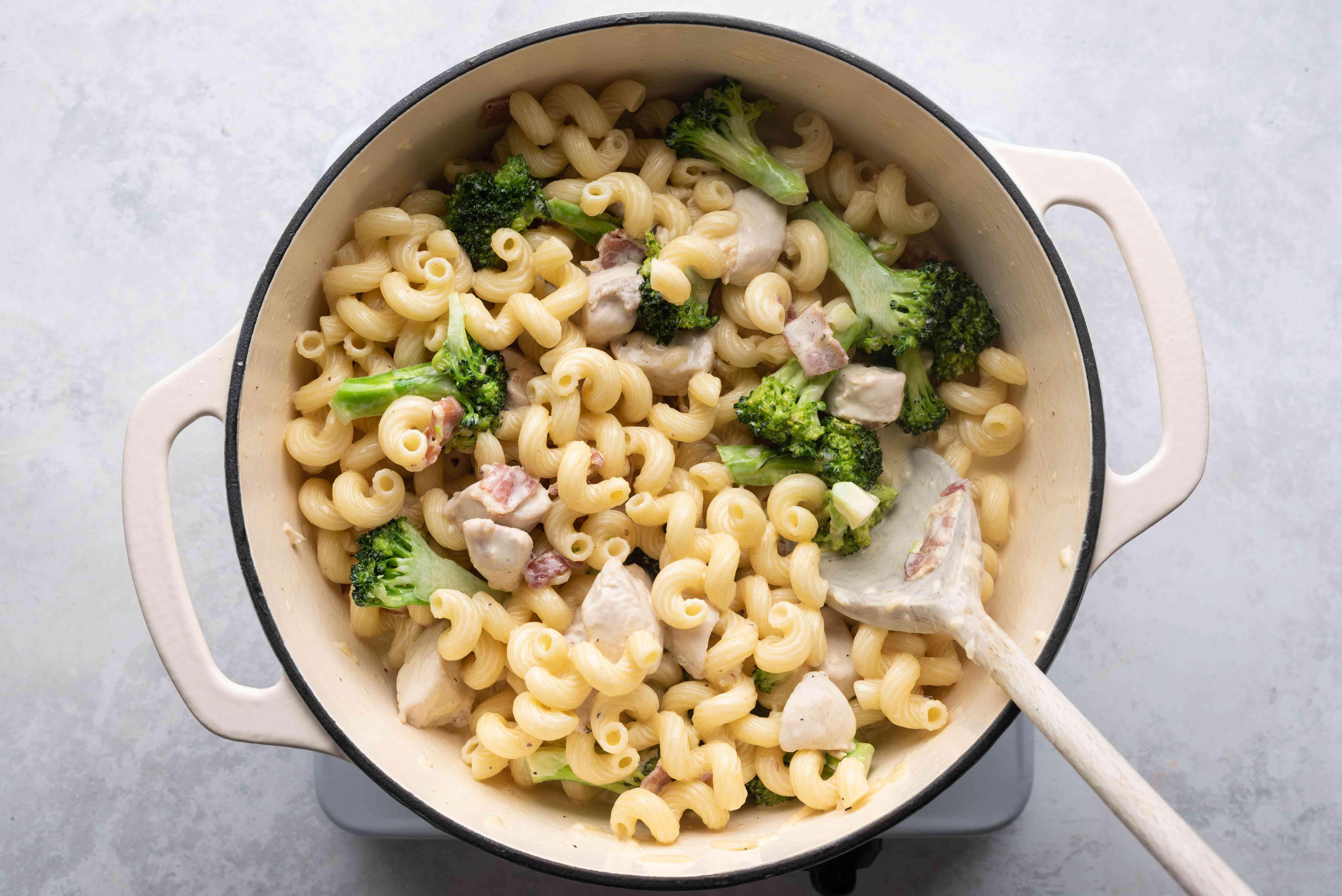 Chicken Broccoli Alfredo in a pot