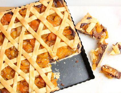 Dried Apricot Tart With Chocolate Tahini Ganache
