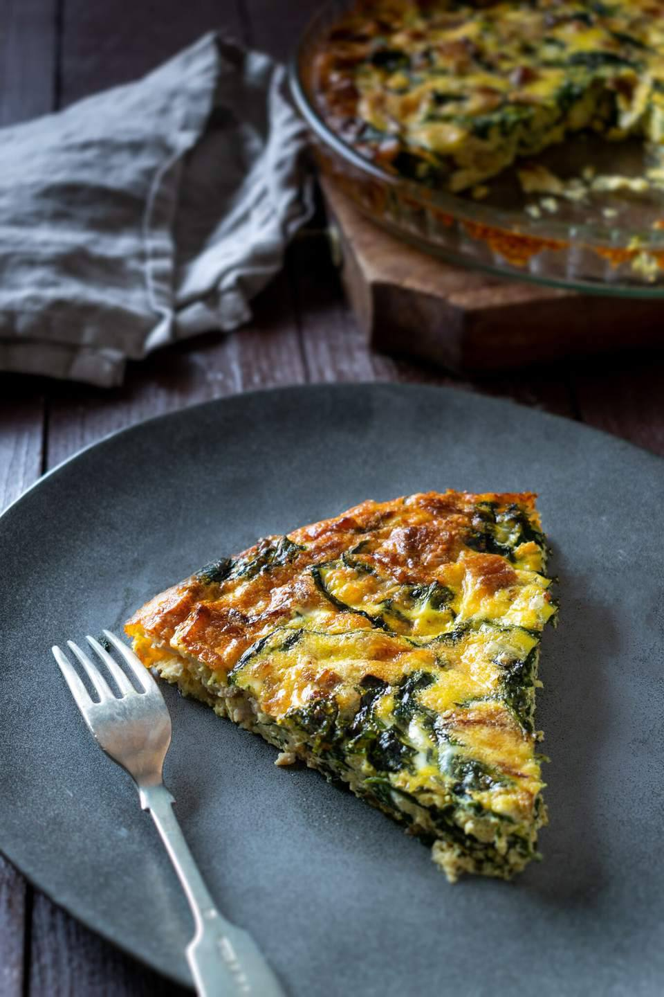 Spinach Frittata With Bacon and Cheddar