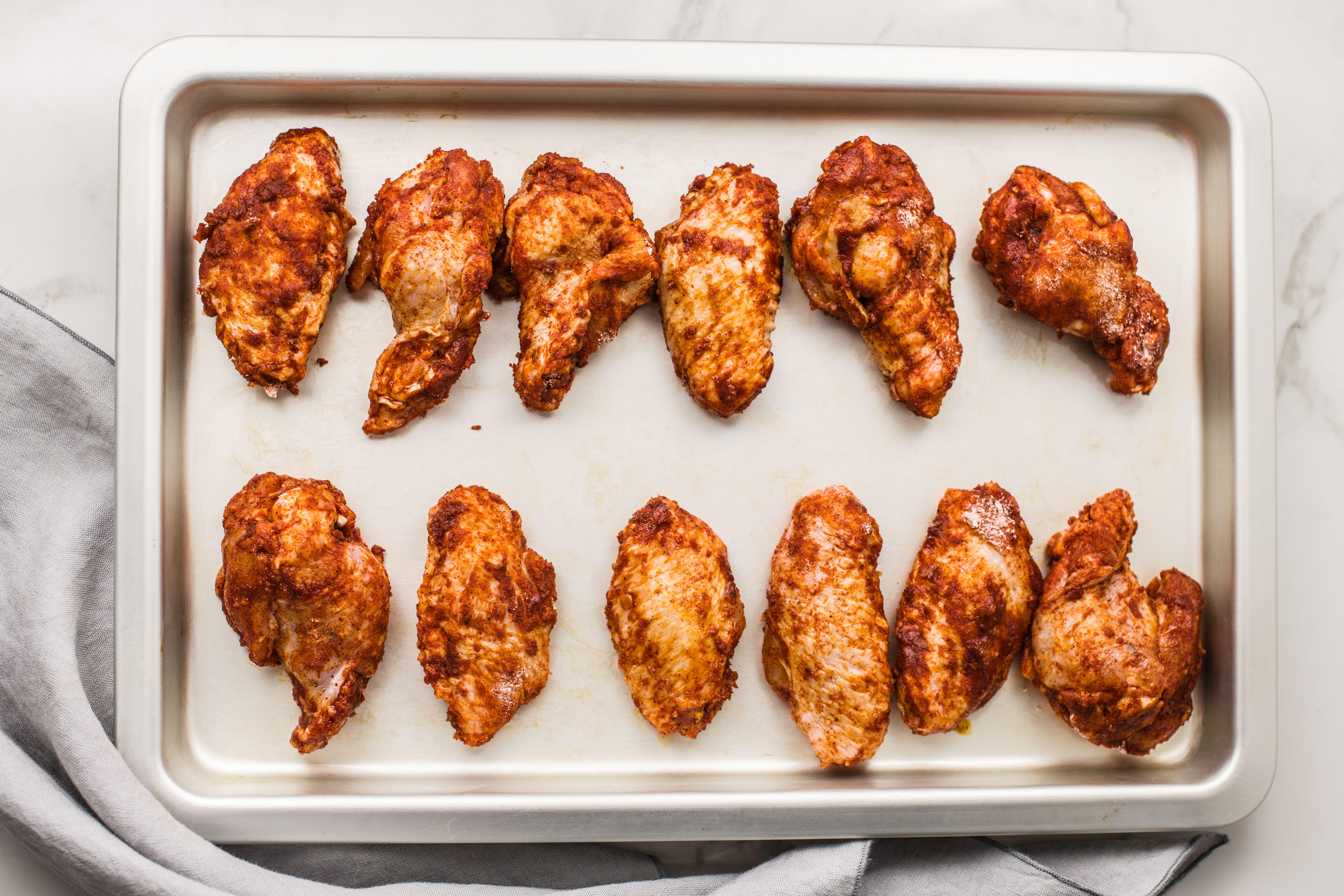 Wings on baking tray