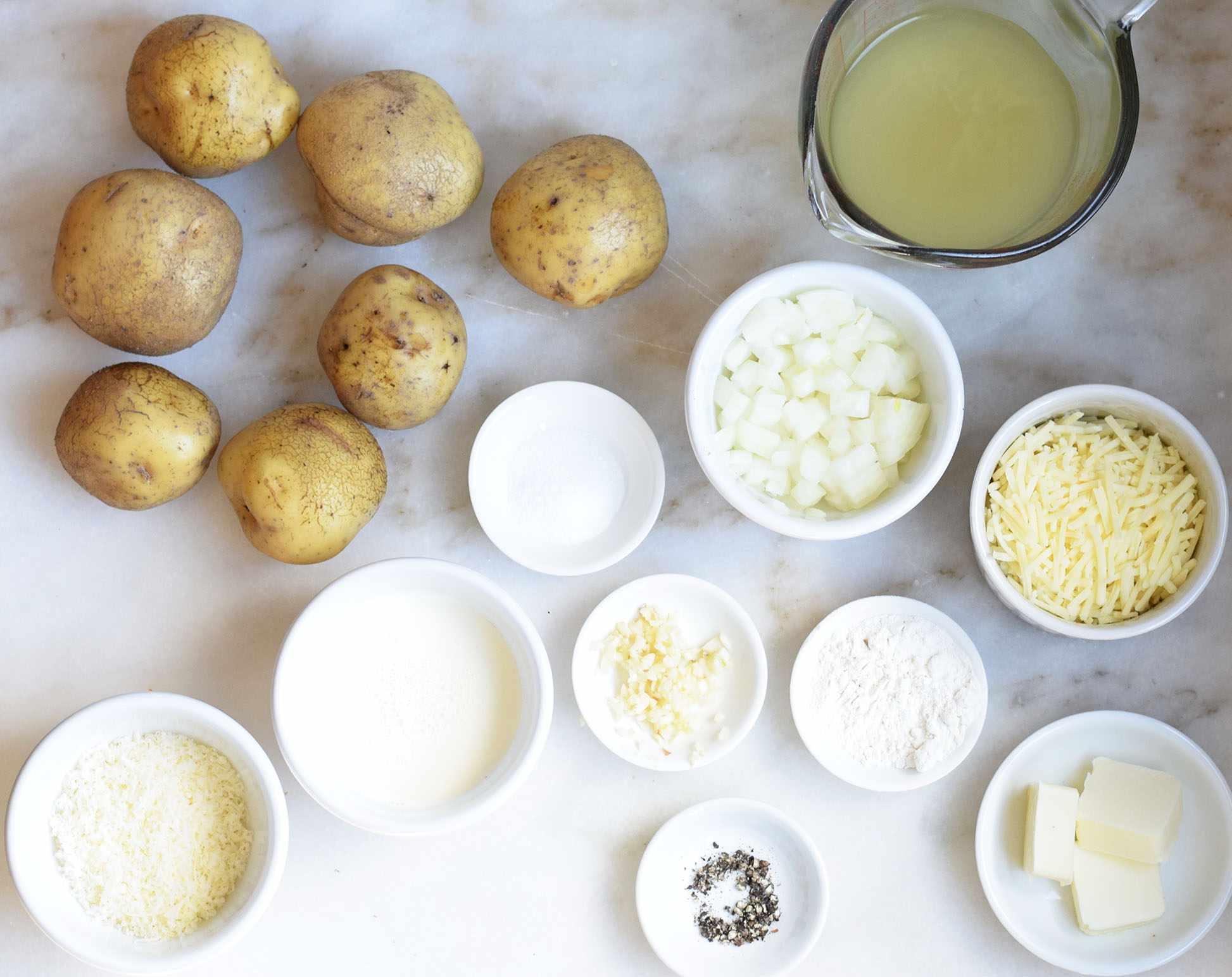 Ingredients for au gratin potatoes