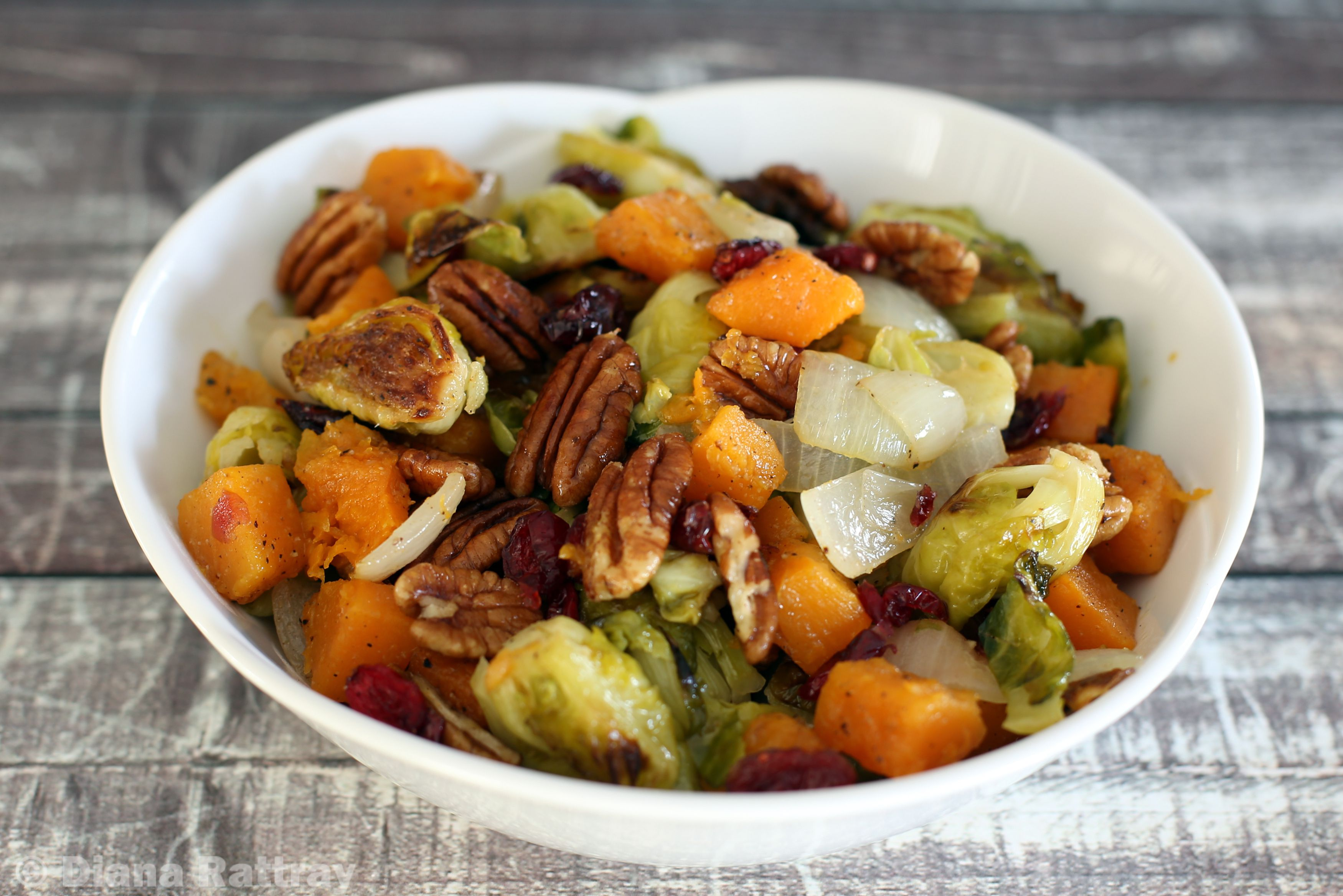 Roasted Brussels Sprouts, Butternut Squash, and Cranberries Recipe