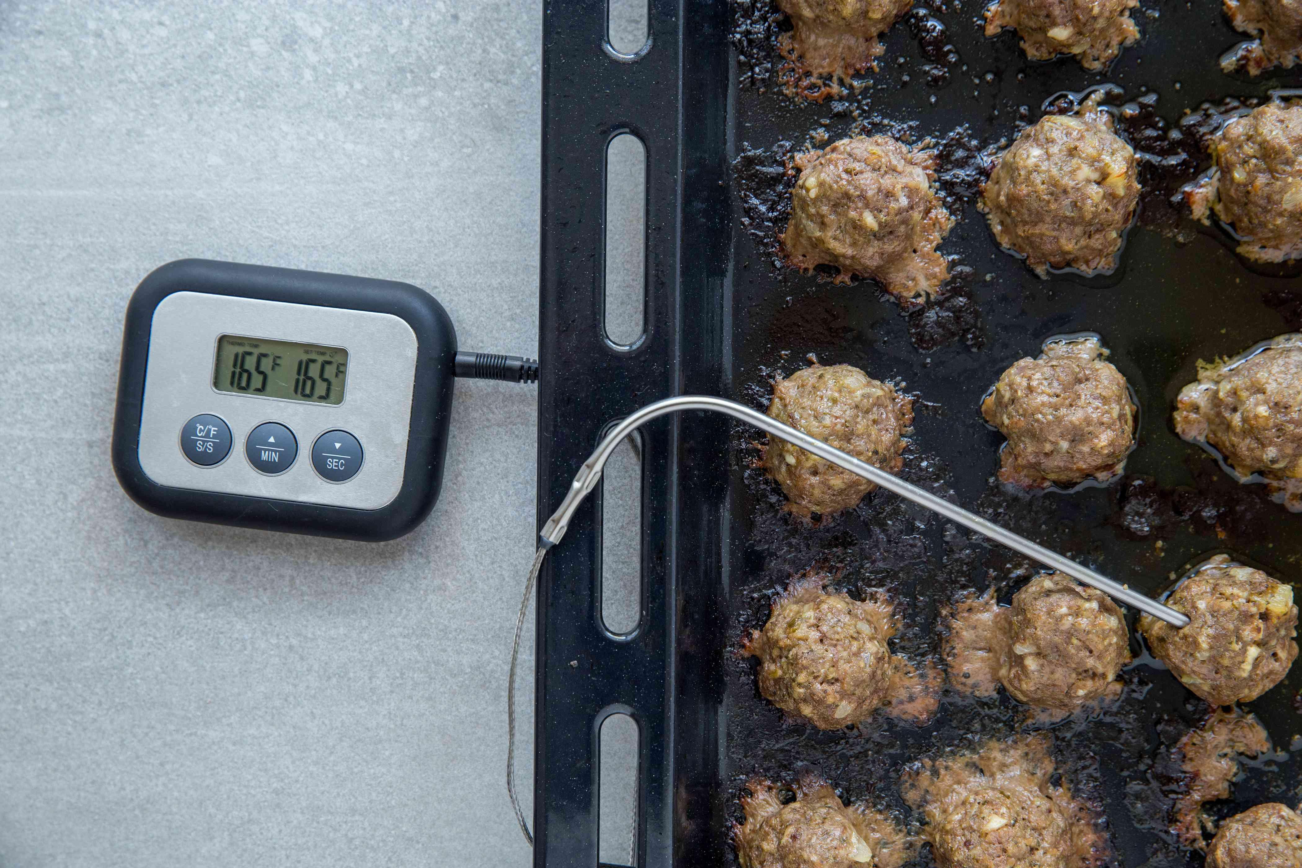 Pesto Meatballs frying in oil
