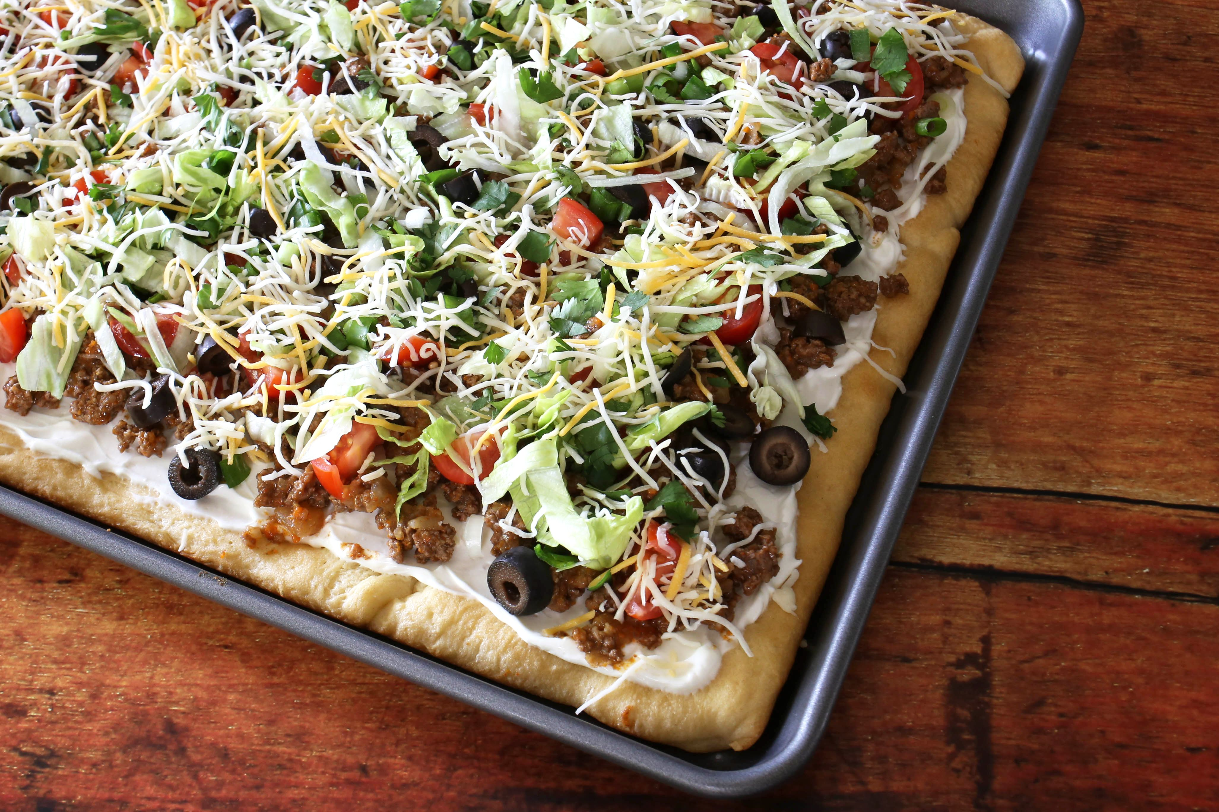 Crescent dough taco pizza appetizer in pan