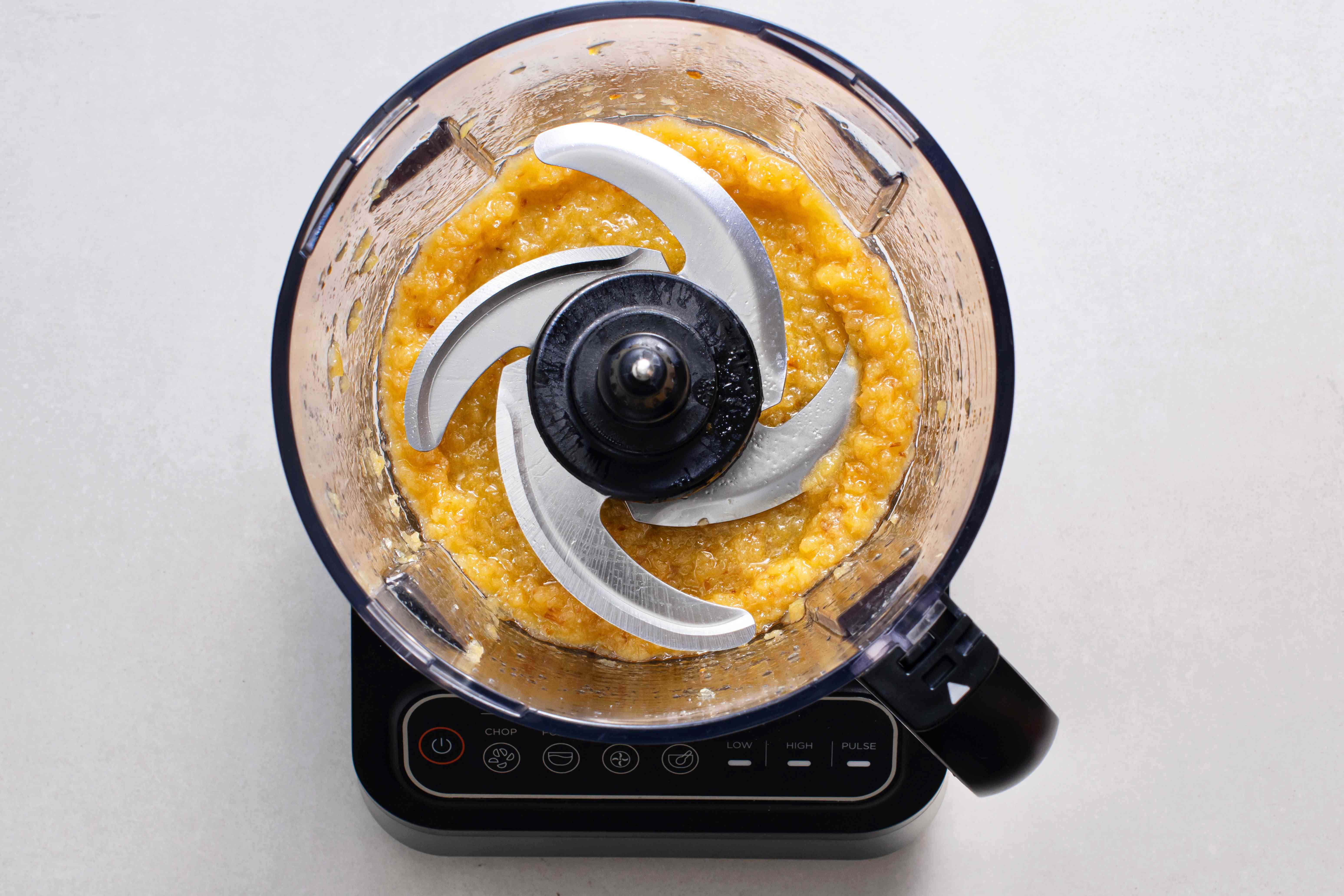 onions and garlic in a food processor