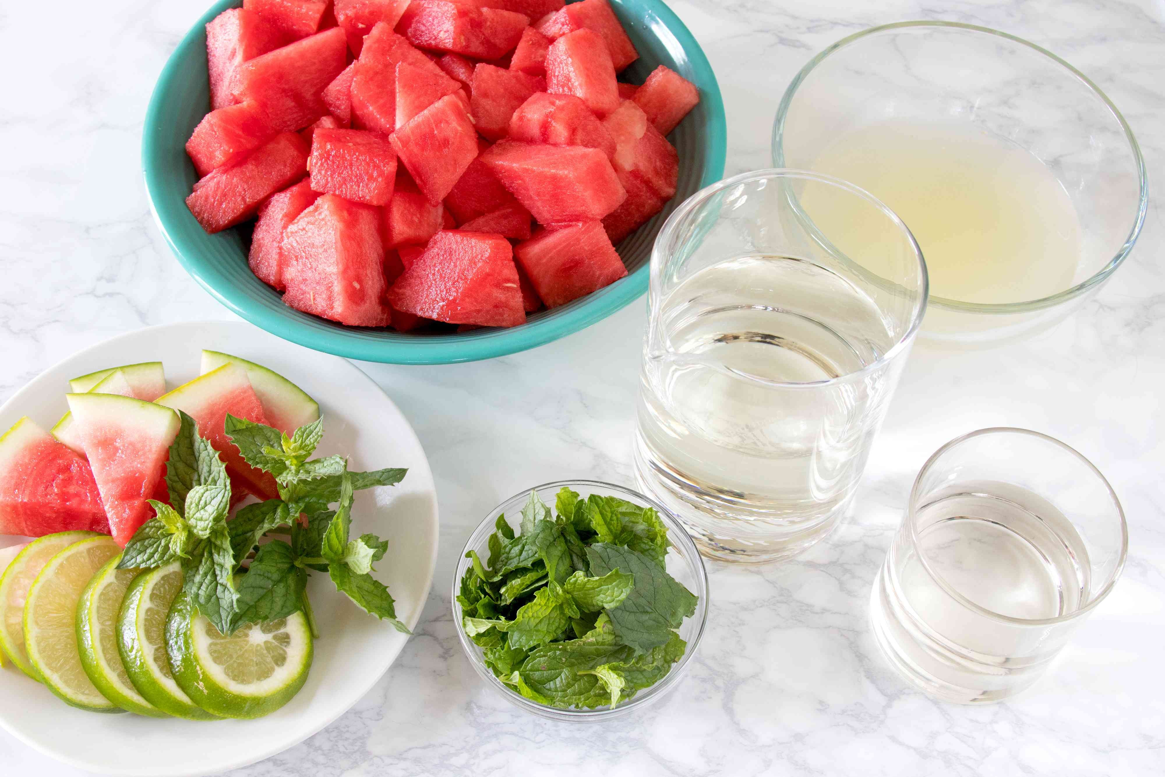 Ingredients for a Pitcher of Watermelon Mojitos