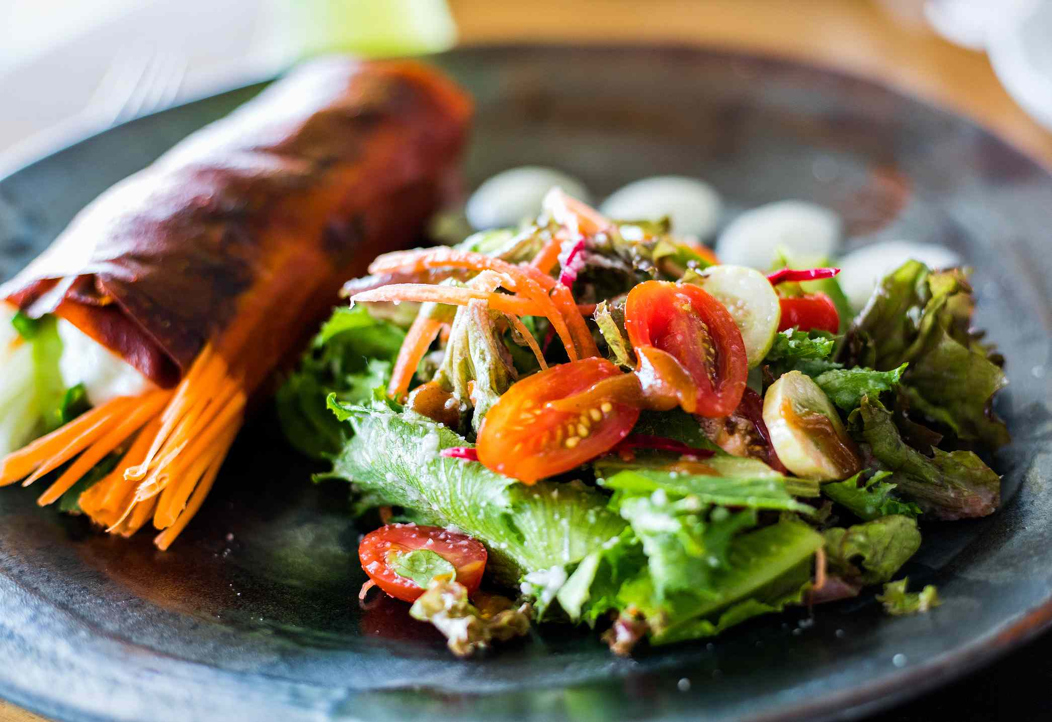 Red pepper wrap and salad