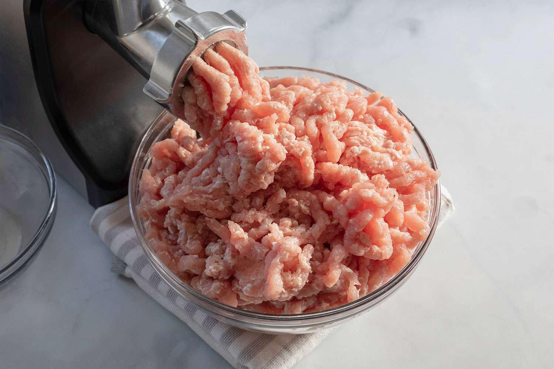 pork meat ground into a bowl