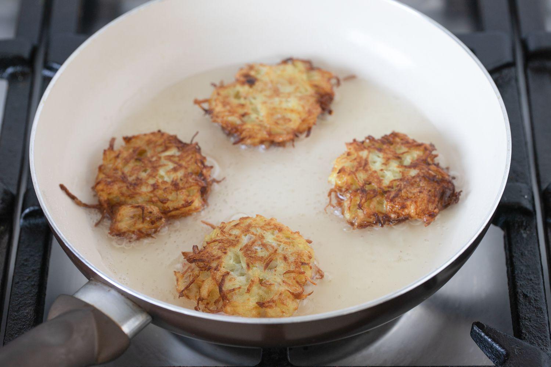 Hash Brown Latkes frying