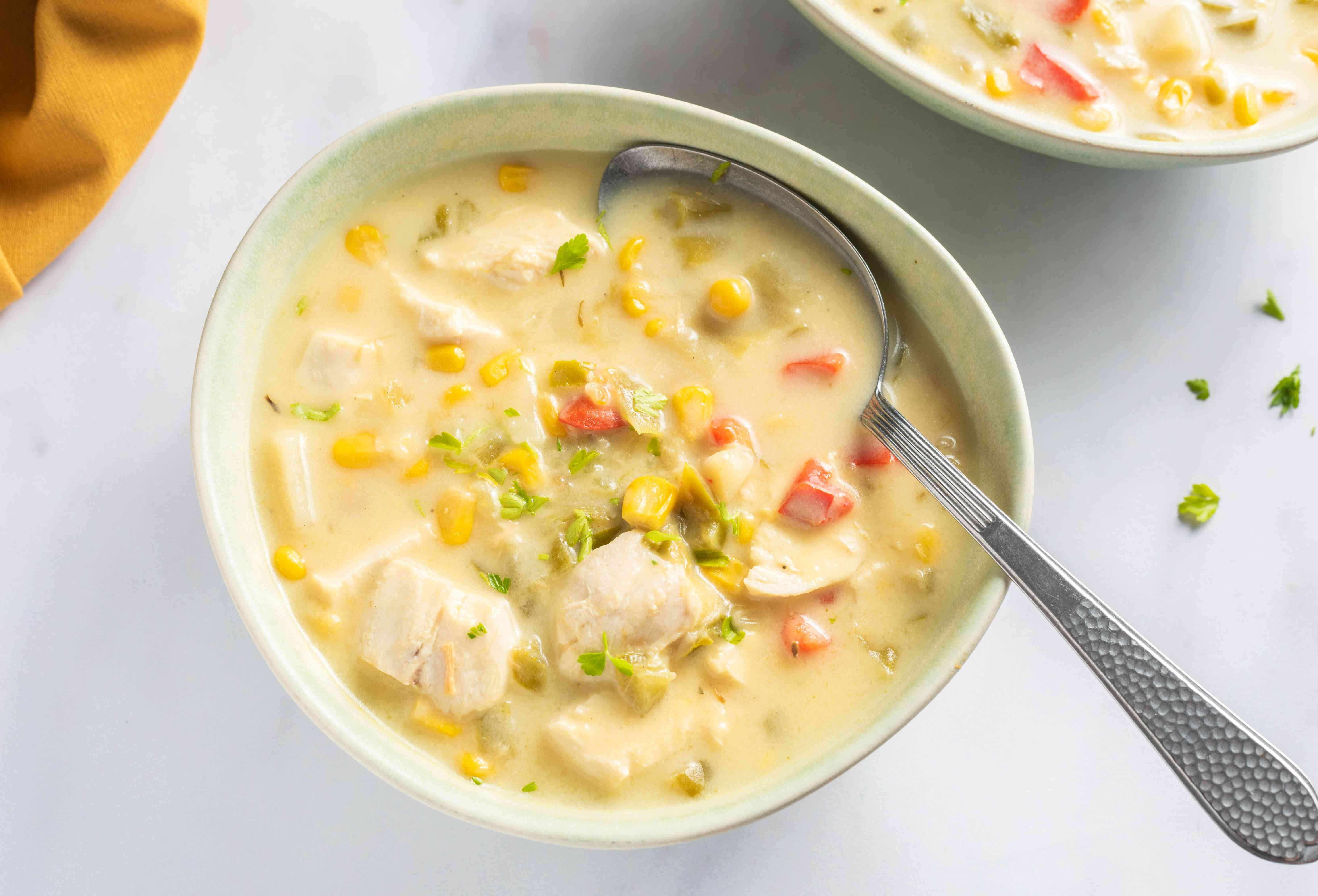 Crock pot chicken and corn chowder
