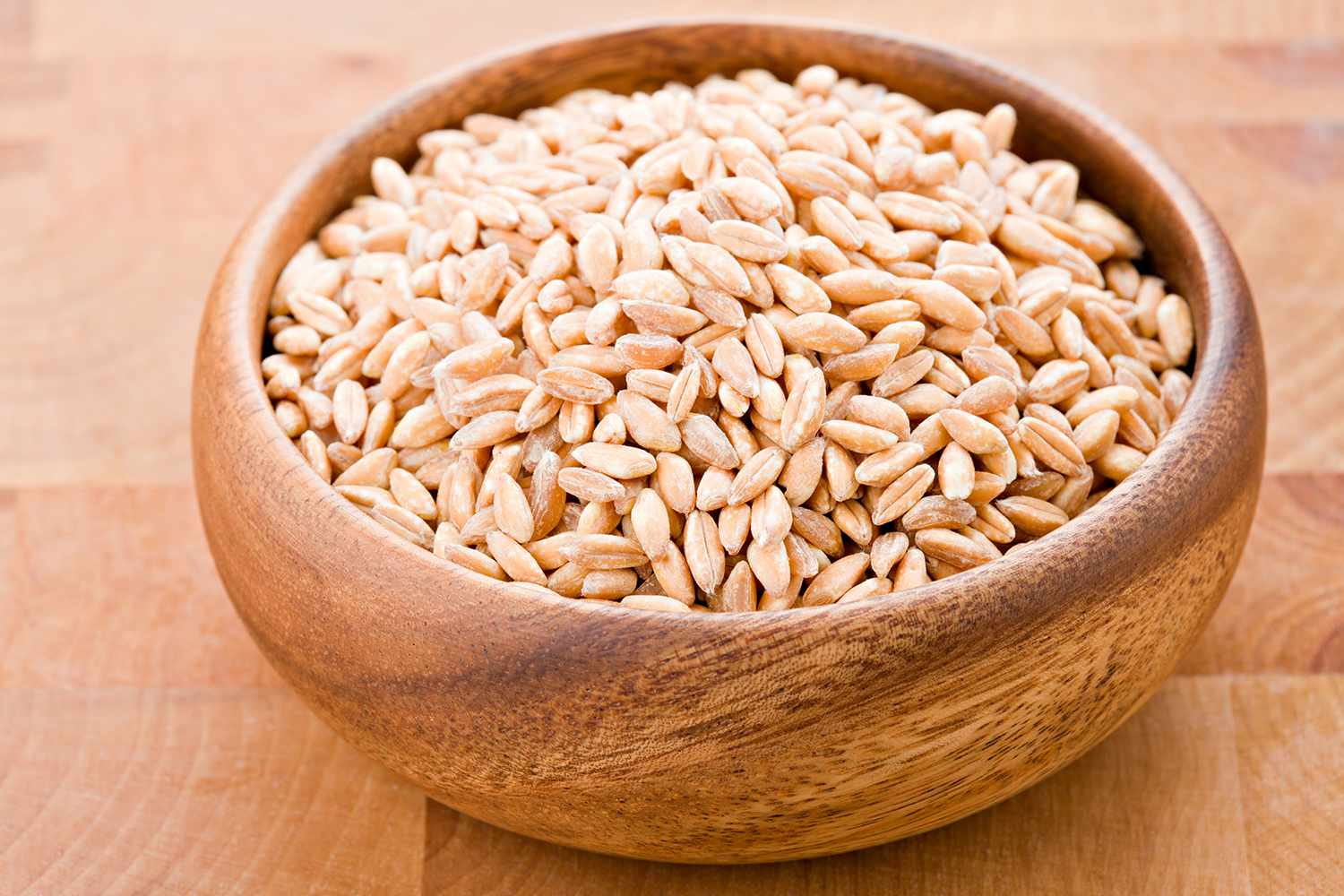 Farro In A Round Wooden Bowl