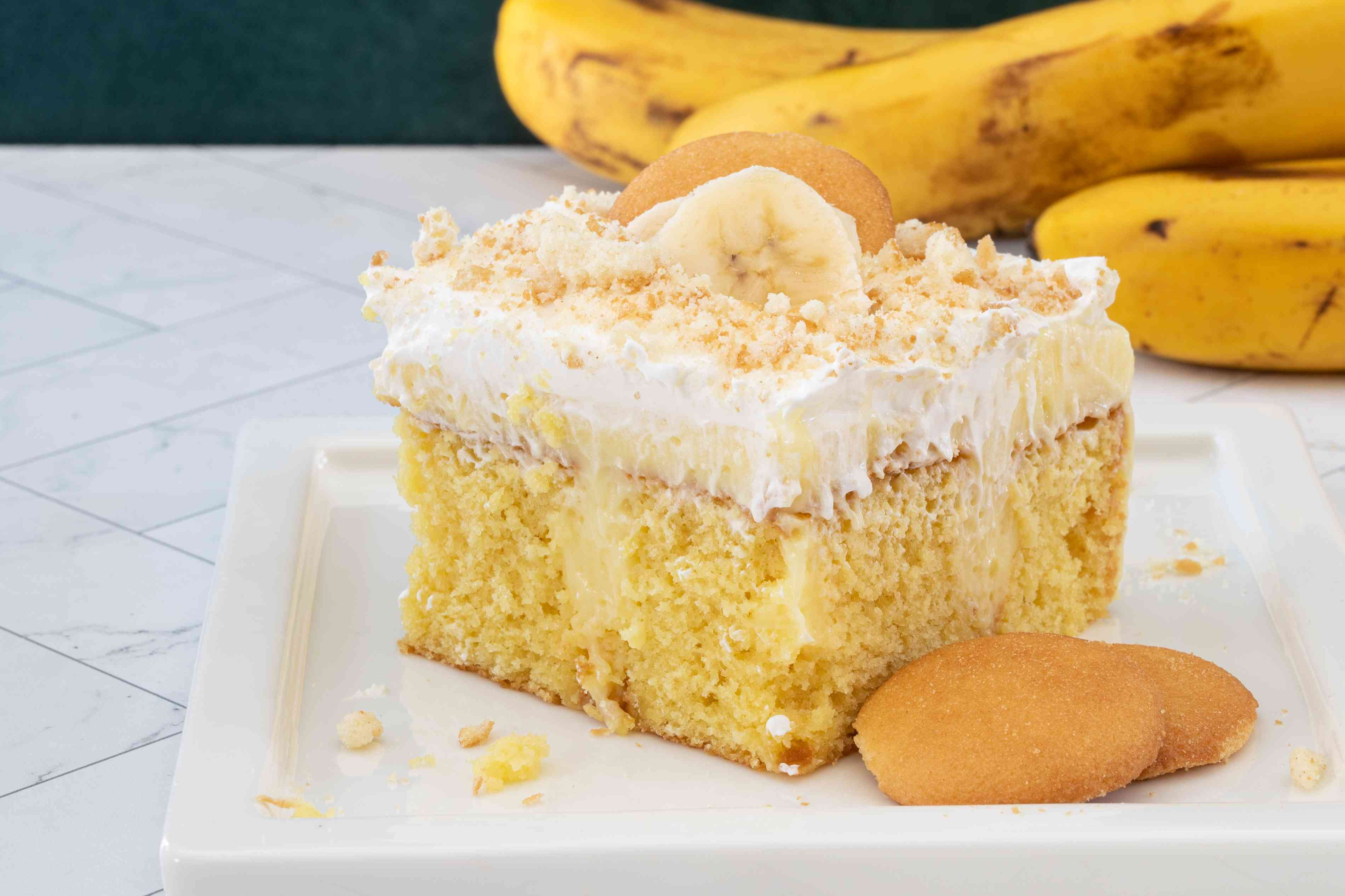 banana pudding poke cake on a plate
