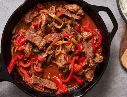 Easy skillet pepper steak and rice recipe