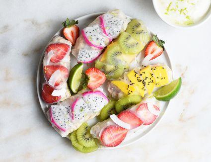 sweet breakfast summer rolls on a platter