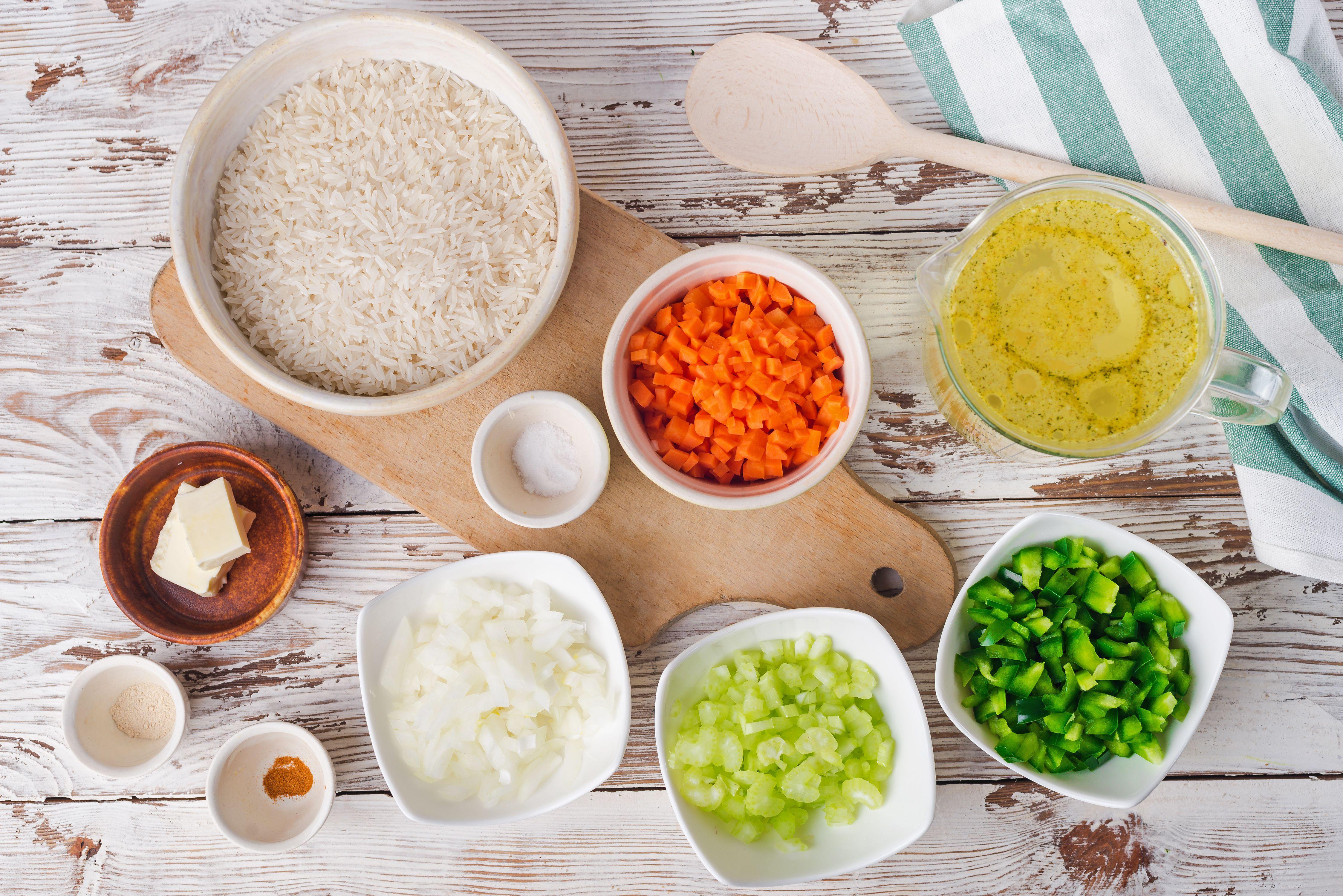 Easy rice with vegtables ingredients