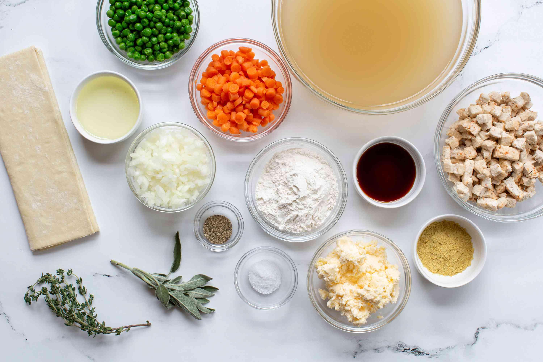 Ingredients to make vegan chicken pot pies